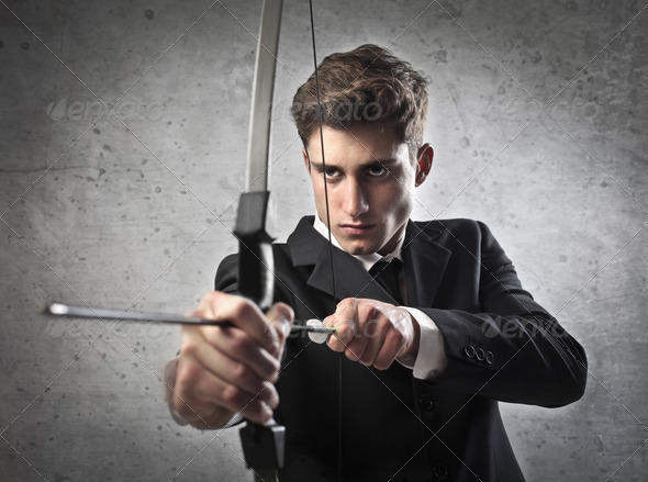 Young Businessman Archer - Stock Photo - Images