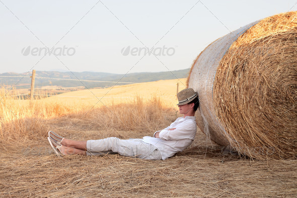 Relaxing Country Boy - Stock Photo - Images