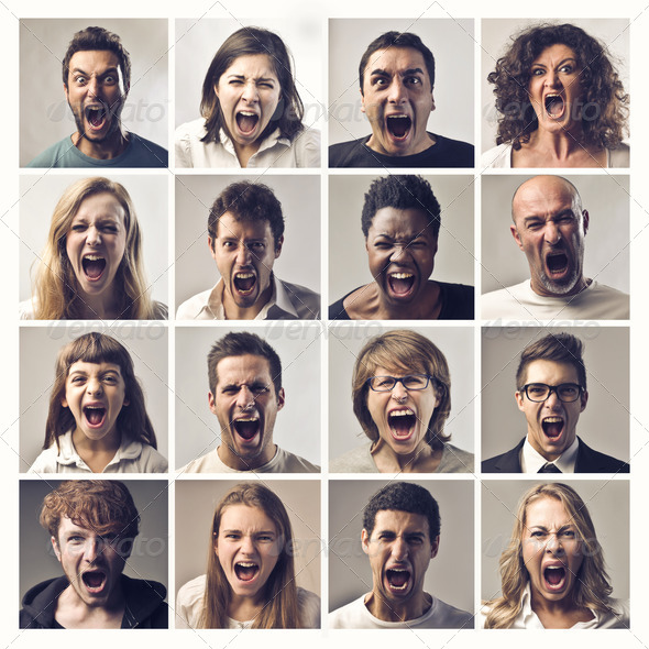 Shouting People - Stock Photo - Images