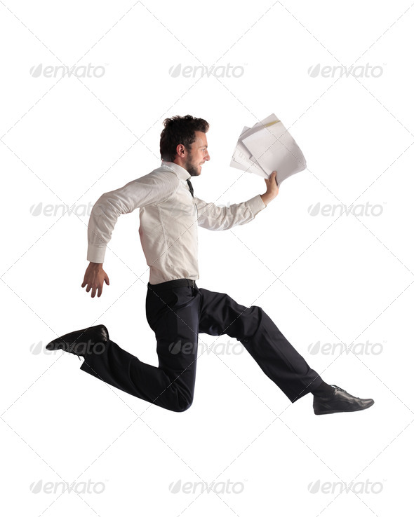 Office Worker in a Hurry - Stock Photo - Images