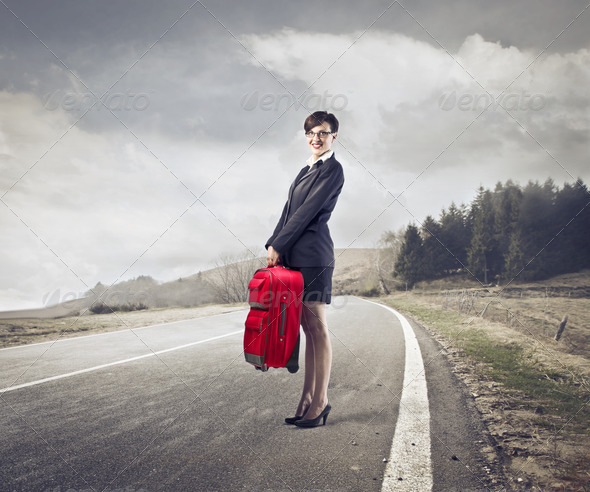 Businesswoman Leaving - Stock Photo - Images