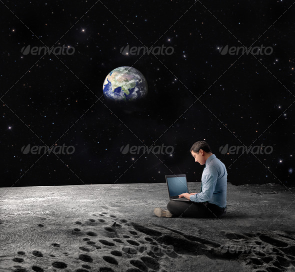 Moon Laptop - Stock Photo - Images
