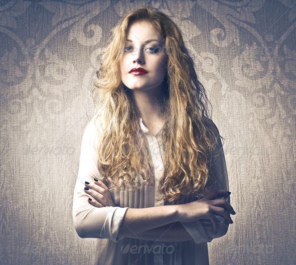 Serious Blonde Girl - Stock Photo - Images