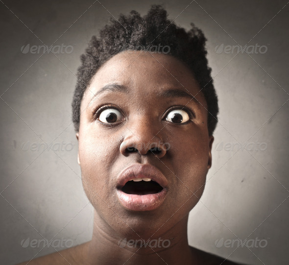 Amazed Black Girl - Stock Photo - Images