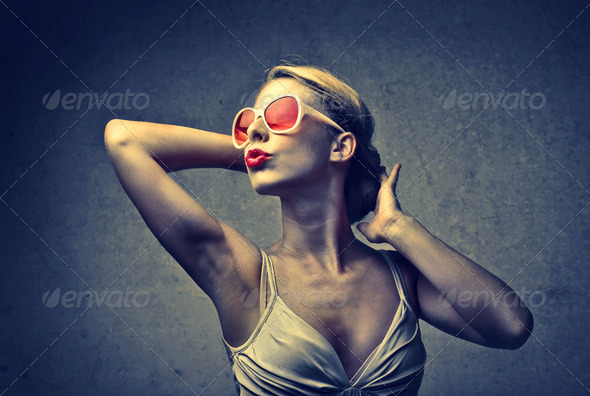 Blonde Fashionable Woman - Stock Photo - Images