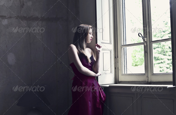 Elegant Woman in Red - Stock Photo - Images