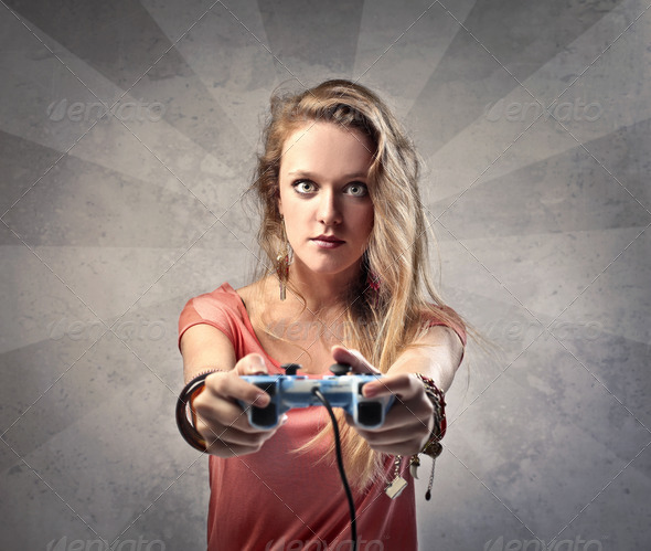 Girl Video Games - Stock Photo - Images