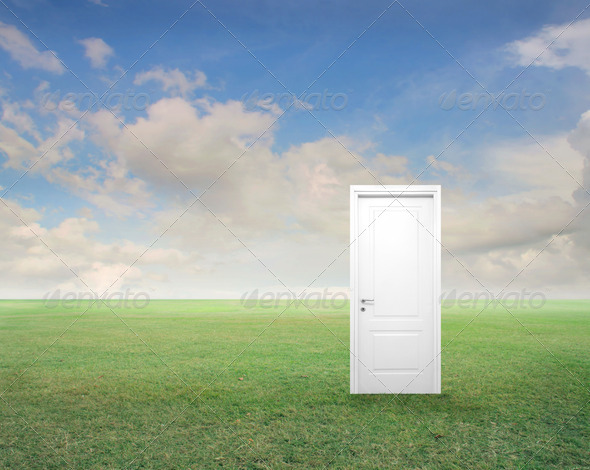 Door on a Field - Stock Photo - Images