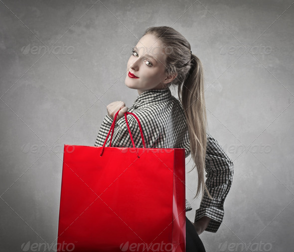 Red Shopping Bag - Stock Photo - Images