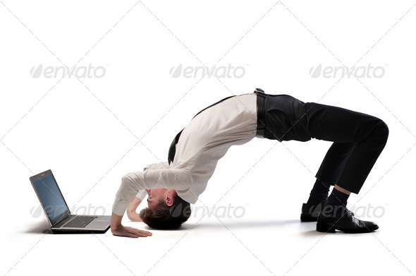 Businessman Upside Down - Stock Photo - Images