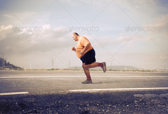 Running Fat Man - Stock Photo - Images