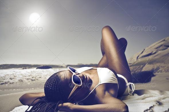 Black Girl Sunbathing - Stock Photo - Images