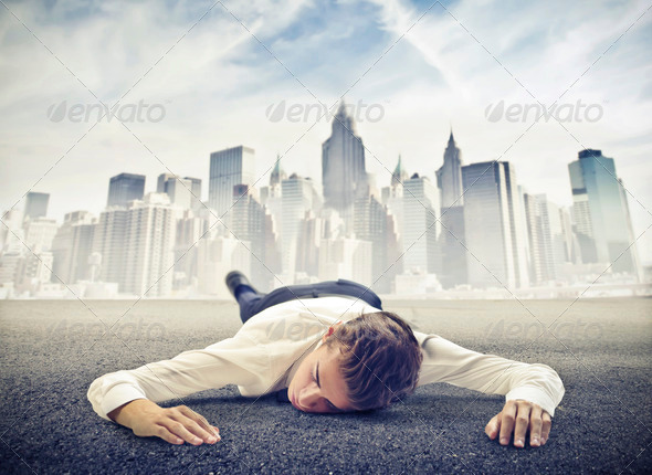 Young Businessman on the Ground - Stock Photo - Images