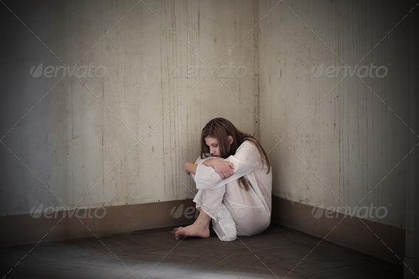 Girl Deep Sadness - Stock Photo - Images