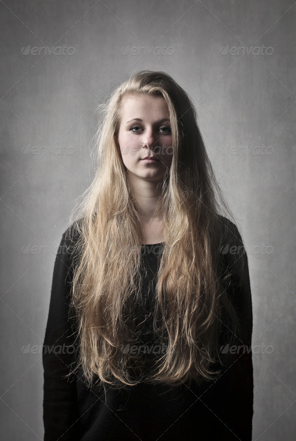 Ugly Blonde Girl - Stock Photo - Images