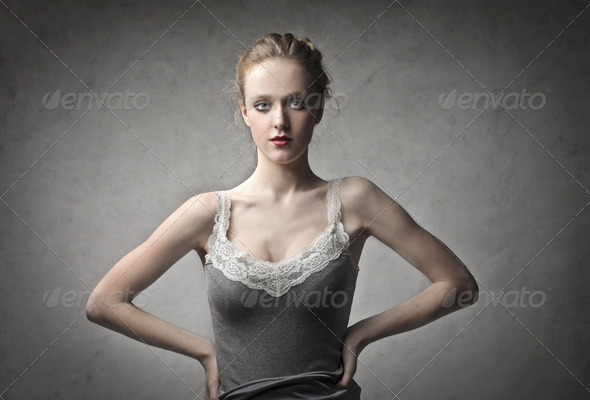 Standing Blonde Girl - Stock Photo - Images