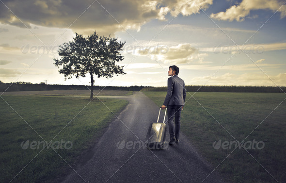 Businessman in the Countryside - Stock Photo - Images