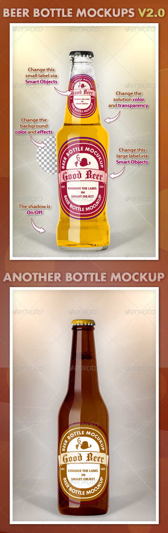 Beer Bottle Mockups V2.0 - Food and Drink Packaging