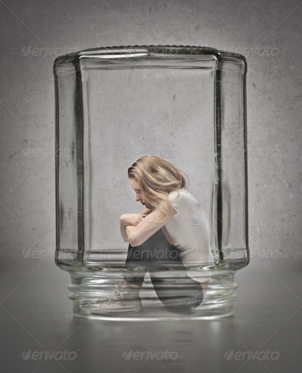 Sad Blonde Girl - Stock Photo - Images