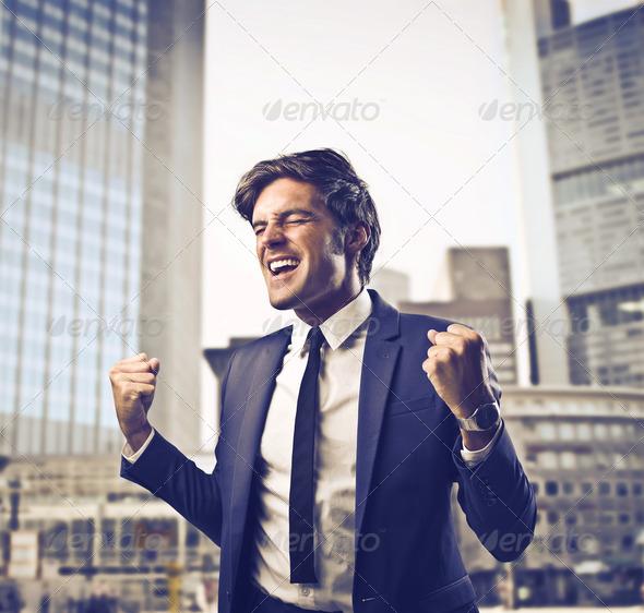 Exulting Businessman - Stock Photo - Images