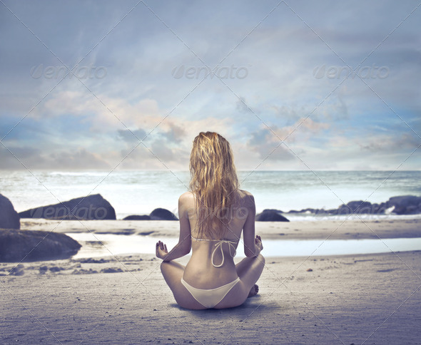 Yoga on the Beach - Stock Photo - Images