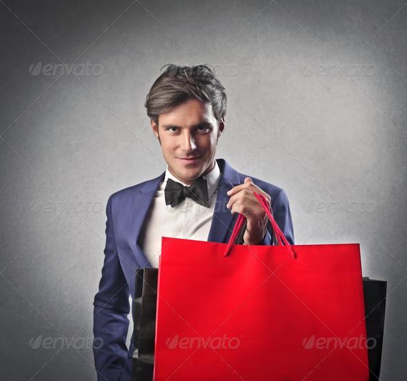 Fashionable Man Shopping - Stock Photo - Images