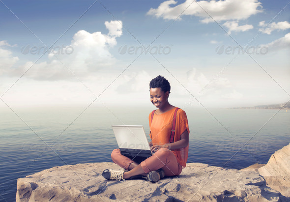 Laptop near the Sea - Stock Photo - Images