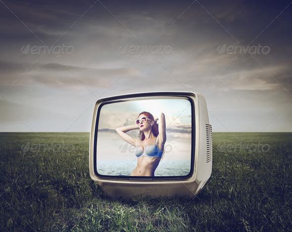 Bikini in the TV - Stock Photo - Images