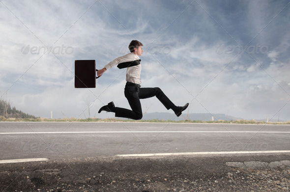 Young Businessman Run - Stock Photo - Images