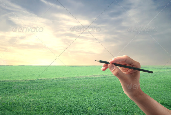 Drawing on a Lawn - Stock Photo - Images