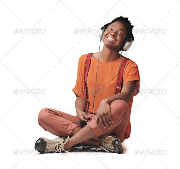 Smiling Black Girl  - Stock Photo - Images
