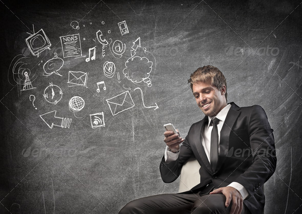 Businessman Mobile Phone - Stock Photo - Images