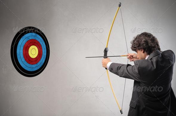Businessman Archer - Stock Photo - Images
