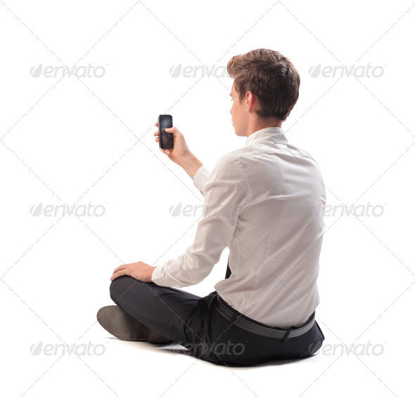Young Businessman Mobile Phone - Stock Photo - Images