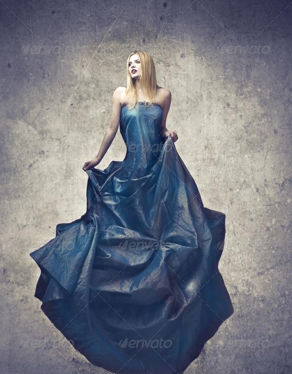 Dark Blue Dress - Stock Photo - Images