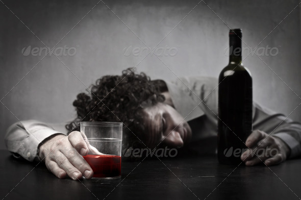Drunk of Red Wine - Stock Photo - Images
