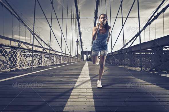 Running on the Bridge - Stock Photo - Images