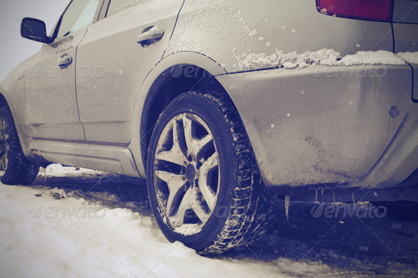 Dirty Snow Tire - Stock Photo - Images