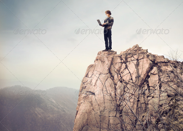 Laptop on the Boulder - Stock Photo - Images