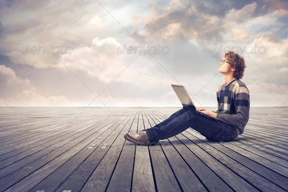 Man Laptop - Stock Photo - Images
