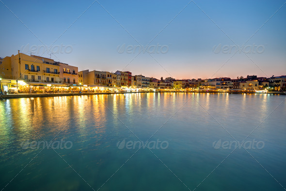 Chania after sunset - Stock Photo - Images