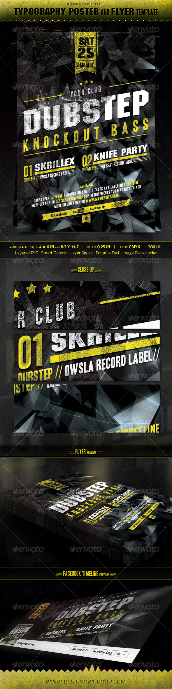 Music Knockout Bass Flyer and Poster Template - Clubs & Parties Events
