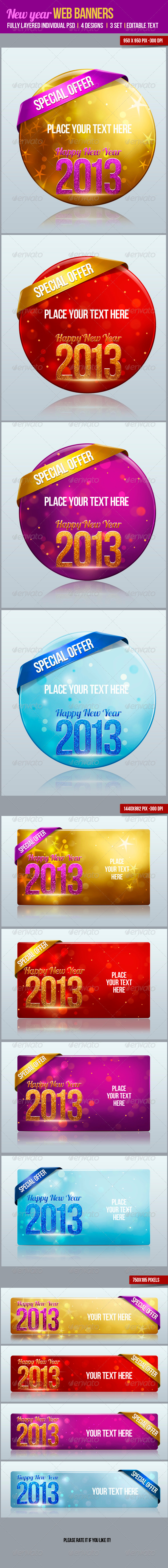 New Year Web Banners - Banners & Ads Web Elements