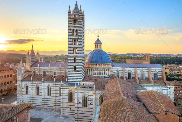 Siena sunset panoramic view. Cathedral Duomo landmark. Tuscany, - Stock Photo - Images