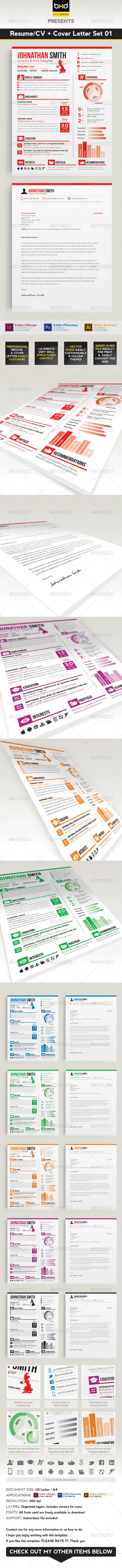 Resume / CV + Cover Letter Set 01 - Resumes Stationery