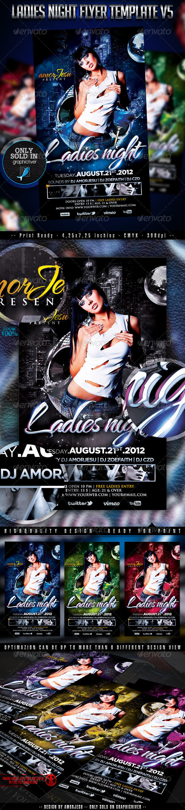 Ladies Night Flyer Template V5 - Clubs & Parties Events