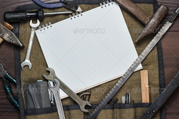 Construction Tools And Blank Notepad - Stock Photo - Images