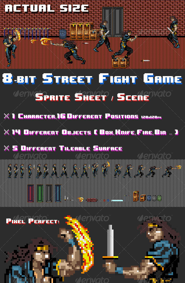 8-Bit Street Fight Game Scene / Sprite Sheets - Illustrations Graphics
