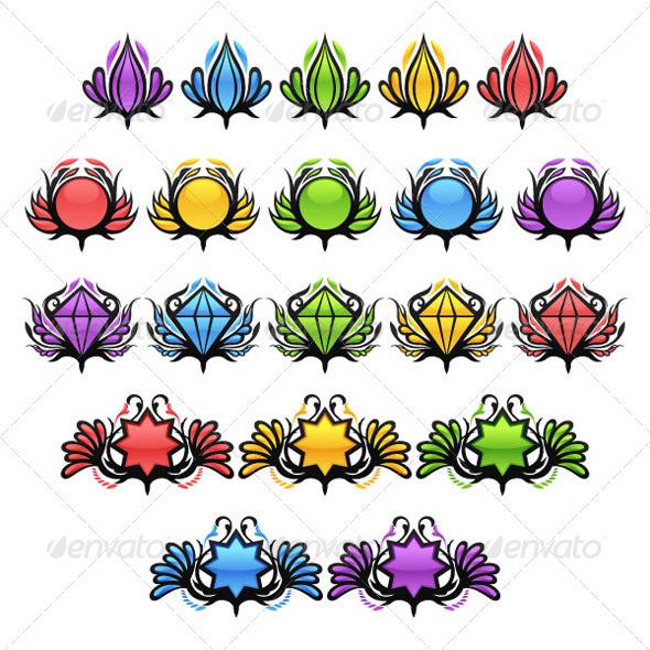 Colorful Glossy Badges - Decorative Symbols Decorative