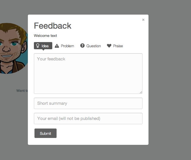 Usernoise modal contact / feedback form